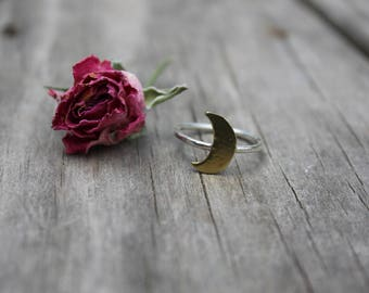 Golden Moon Sterling Silver and Brass Ring