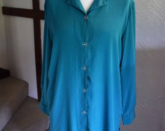 Vintage 1980's emerald green lounge suit/pyjamas, UK size 14