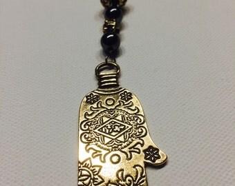 Long necklace, necklace, hamsa, zen, hematite and gunmetal