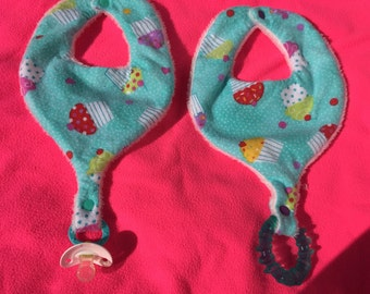 Cupcakes on Teal Flannel Pacifier Bib - Teether Bib - Binky Bib for Infants and Toddlers Handmade