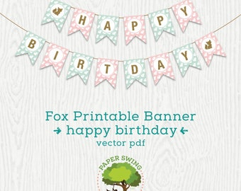 Fox Printable Happy Birthday Banner