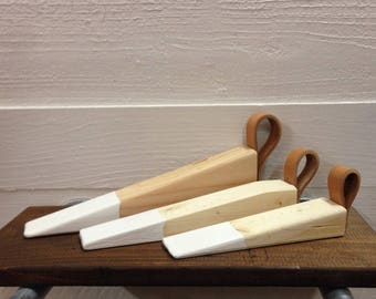 Natural Wood Door Stops In 3 Sizes with 4 Color Options and Natural Leather Cowhide Handle