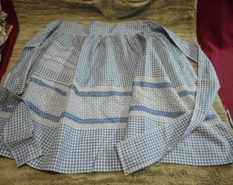 Vintage Blue and White Gingham Half Apron Embroidered Cross Stitch Details Handmade Great Coondition