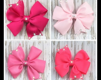 Set of 4, 3 inch Pinwheel Twinkle Hair Bow Clips