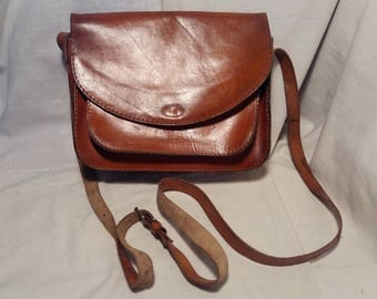 Vintage 1980's Brown Leather Handbag - Shoulder Bag