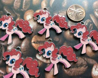SET of 5 Bright and Colorful Pink My Little Pony Enamel Metal Charms/ Pendant/Earrings /Jewelry Making/DIY