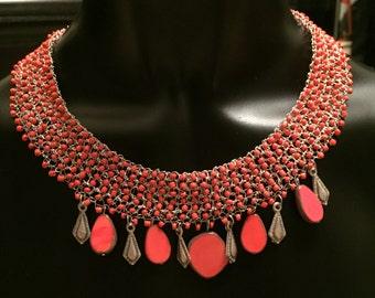 Wire crochet necklace, orange necklace, Wire knit necklace, semiprecious necklace