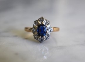 ANTIQUE VICTORIAN SAPPHIRE 14k rosegold rosecut diamond halo vintage engagement ring size 6 circa 1880