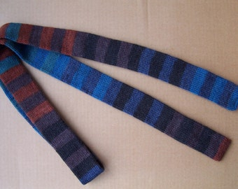 knit skinny striped emerald, blue, green, cinnamon and gray street fashion necktie unique cool gift for cool season christmas winter gift