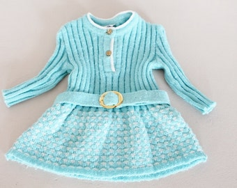 Woolen blue dress, acrylic dress, winter dress, baby vintage dress, baby vintage clothe, baby shower gift