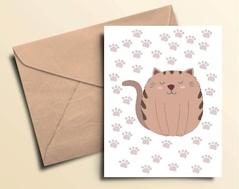 Cat Paws Note Cards – Box of 10 With Envelopes