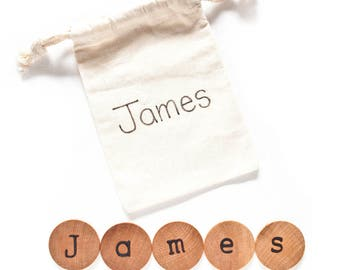 Personalized Name Discs / Kids Stocking Stuffers / Christmas Stocking Stuffers for kids / Wood Alphabet Discs / Montessori Preschool Pre k