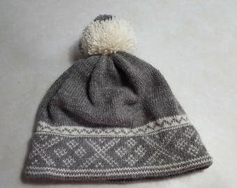 Beautiful Grey Llama Blend Hand Knit Hat