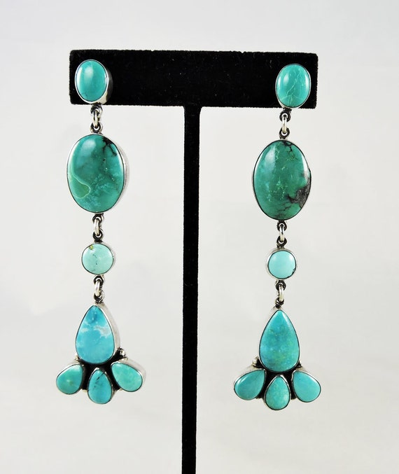 Turquoise And Silver Chandelier Dangle Earrings