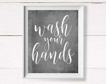 Bathroom Printable, Kids Bathroom Printable, Wash Your Hands, Gray Bathroom Art, Funny Bathroom Art, Instant Download