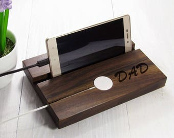 Fathers Day Gift From Daughter Personalized Apple Watch and iPhone Charger Gift for Dad Wood Docking Station Gifts For Dad From Daughter