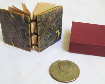 Miniature Book, Handmade tiny book, blank book, ready to give, boxed with ribbon tie, vintage look book, OOAK gift