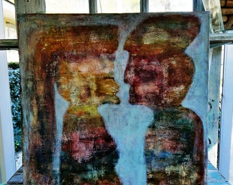 "20x20 Abstract Mixed Media Textured Painting on Deep Canvas, ""Talk to Me"""