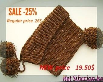 Hand crochet Warm hat hood with pom-poms, hat for autumn and winter, women's brown hat with pom-poms