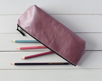 Pink Pencil Case, Cosmetic Bag, Make Up Bag, Bridesmaid Gift, Holiday Gift, Pink Metallic Zipper Pouch, Pencil Case,