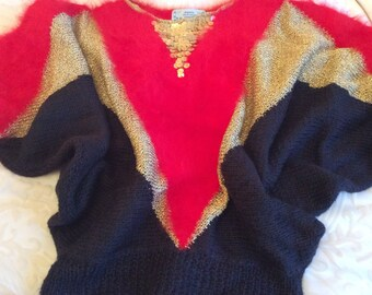 Red 100% angora hand knit sweater with black silk panels,gold lurex yarn & gold sequins