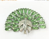 Spring SALE 30s Enamel Green Rhinestones Peacock Brooch