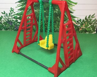 Acme Dollhouse Furniture Miniature Playground Swing-vintage