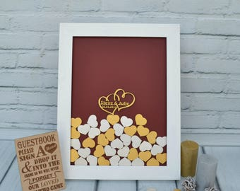 Guestbook Alternative Wedding Guest Book Drop box Custom Personalized gift Guest Box Drop Top hearts Burgundy Gold