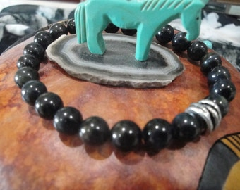 Genuine blue Tiger Eye gemstone stretch bracelet with metal bead