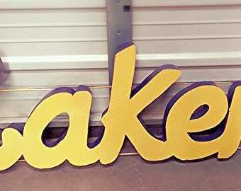 metal lakers sign - laker decor - laker signs- LA lakers. lakers. laker gifts