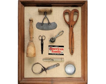 Antique Americana Primitive Kitchen Gadget Diorama Wall Art Framed 22 x 18