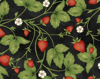 From the Farm - Fresh Strawberries on Black - Sold by the Half Yard