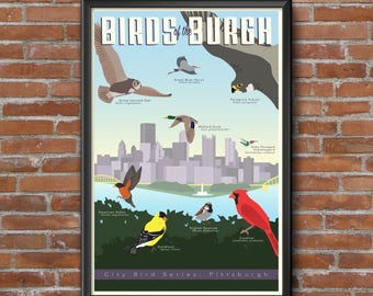 """Birds of the Burgh Poster - Pittsburgh Bird Poster - 11""""x17"""" - Vintage themed - Pittsburgh Skyline"""