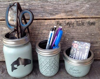 Fish Mason Jar Desk Set-Cabin Desk Set-Hunting Lodge-Mason Jar Office Organizer-Desk Set-Mason Jar Set--Desk Decor-Desk Set-business card