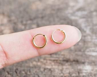 8 mm - Gold Plated Tiny Hoop Earrings, 925 Sterling Silver, Loop earrings, Tiny Cartilage Hoops , Minimalist Jewelry, Helix - MI.21/HP022