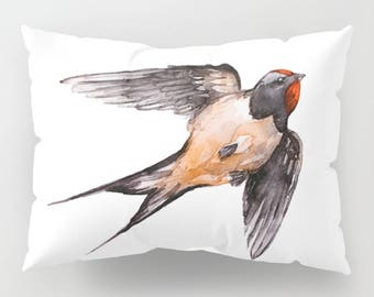 Sparrow Swallow Bird Watercolor White Pillow Sham For The Bed Pillow Cover Case Standard and  King Size Sets