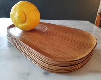 Mid Century Modern Party Plates Wood Grain, Set of 10