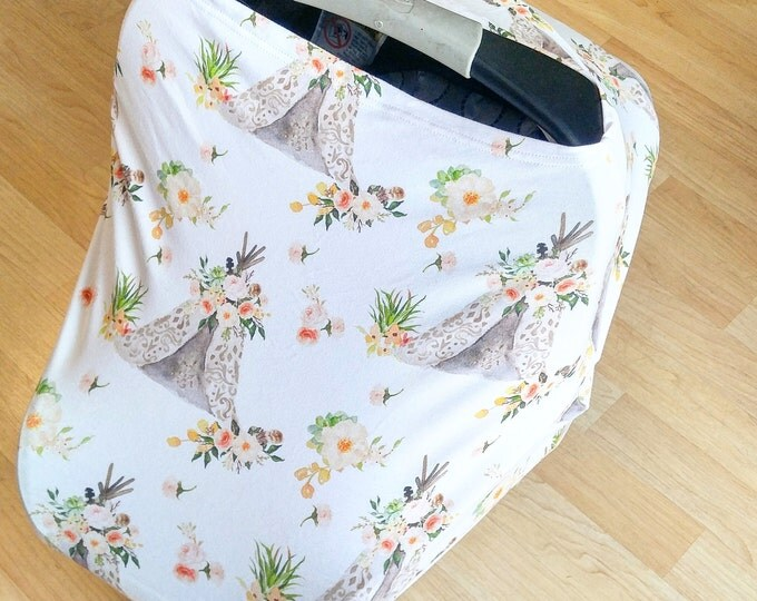 Stretchy Car Seat Cover/Nursing Cover by Solchan || Multiuse Stretch Baby Carseat Cover, boy/girl floral flowers teepee tipi