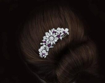 dark purple amethyst lavender silver crystal rhinestone bride bridal hair comb art deco wedding head piece headpiece vintage inspired