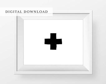 Printable Scandinavian Plus Sign Print - Black and White Decor - Nursery Decor - Scandinavian Poster - Home Decor - Modern Minimal Print