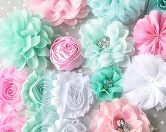Fabric flowers Light pink white and aqua mix, Shabby trim chiffon flowers kit, Shabby flowers for headbands, Baby headband supplies