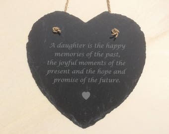 Daughter Gift Slate Heart With Lovely Inscription, Daughter Gift, Birthday Gift for Daughter, Christmas Gift For Daughter.