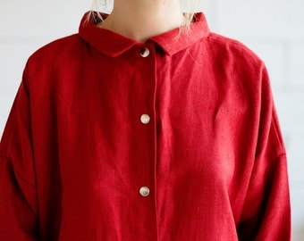 100% Linen Dress Red, hand made in London, sustainable, artisan, fashion