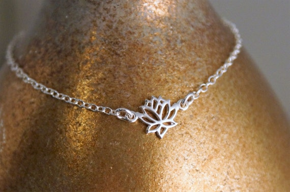 Lotus Charm Sterling Silver Bracelet / Dainty Bracelet / Layered Bracelet / Sterling Silver Lotus Flower Bracelet