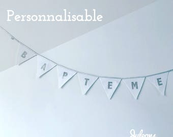 Garland of pennants in fabric to personalize - Date or name to dial - gold, Silver (7 colours)