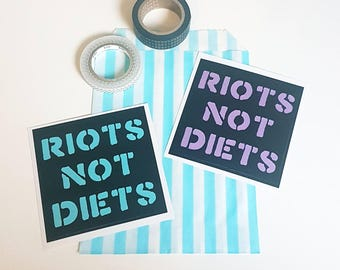 Riots Not Diets Vinyl Sticker Set