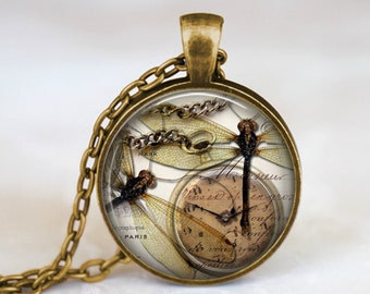 Dragonfly and Watch - Steampunk Handmade Pendant Necklace