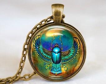 Egyptian Beetle Drawing - Handmade Pendant Necklace