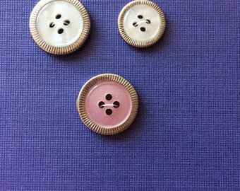 """Vintage 3 Pearly White, Pink, and Silver Round Buttons 5/8"""" to 13/16"""" Plastic and Metal"""