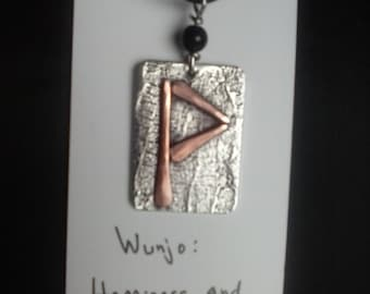 Handmade Rune Pendant of forged copper and textured pewter.
